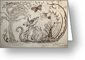 Black Ceramics Greeting Cards - Mouse Greeting Card by Kathleen Raven