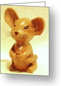 Wildlife Sculpture Greeting Cards - Mouse Greeting Card by Russell Ellingsworth