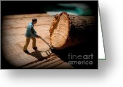 Trees Cut Down Greeting Cards - Moving a Tree with Hand Trucks Greeting Card by Renee Trenholm