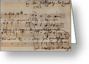 Composer Greeting Cards - Mozart: Motet Manuscript Greeting Card by Granger