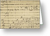 Composer Greeting Cards - Mozart: Requiem Excerpt Greeting Card by Granger