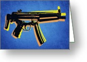 Sub Machine Gun Greeting Cards - MP5 Sub Machine Gun on Blue Greeting Card by Michael Tompsett