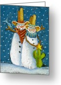 Cowboy Pastels Greeting Cards - Mr and Mrs Snowman Greeting Card by Pat Olson