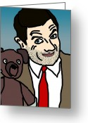 Tv Show Greeting Cards - Mr Bean and Teddy Greeting Card by Jera Sky