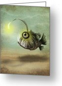 Jessica Grundy Greeting Cards - Mr. Fishy on His Own Greeting Card by Jessica Grundy