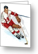 Old Skates Greeting Cards - Mr Hockey Gordie Howe Greeting Card by David E Wilkinson