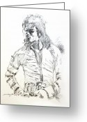Celebrities Drawings Greeting Cards - Mr. Jackson Greeting Card by David Lloyd Glover