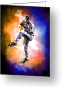 Mgm Greeting Cards - Mr. Justin Verlander Greeting Card by Nicholas  Grunas