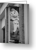 New York Baseball Parks Greeting Cards - MR MET in BLACK AND WHITE Greeting Card by Rob Hans