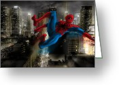 Spider Man Greeting Cards - Mr. Parker in NY Greeting Card by Nicholas Vermes