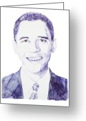Barack Drawings Greeting Cards - Mr. President Greeting Card by Benjamin McDaniel