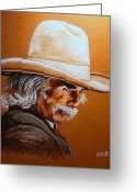 Cowboy Pencil Drawing Greeting Cards - Mr. Scoresby Greeting Card by Susan Bergstrom