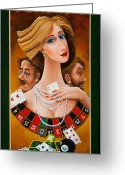 Dice Painting Greeting Cards - Mrs Fortune Greeting Card by Igor Postash