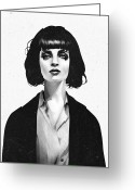 Face Greeting Cards - Mrs Mia Wallace Greeting Card by Ruben Ireland