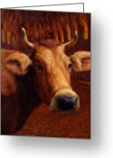 Yellow Greeting Cards - Mrs. OLearys Cow Greeting Card by James W Johnson