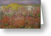 Spring Scenes Painting Greeting Cards - Mrs Russell Amongst the Flowers at Belle Isle Greeting Card by John Peter Russell