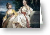 Lost In Thought Painting Greeting Cards - Mrs Thrale and her Daughter Hester Greeting Card by Sir Joshua Reynolds