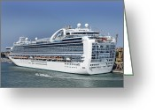 Sight Seeing Greeting Cards - Ms Ruby Princess Cruise Ship Greeting Card by Tony Craddock