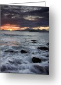 Volcano Greeting Cards - Mt. Edgecumbe Sunset Greeting Card by Mike  Dawson