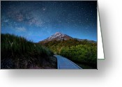 Star Greeting Cards - Mt. Ekmond At Night With Starlight Greeting Card by Coolbiere Photograph