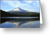 Trillium Lake Greeting Cards - Mt Hood and Trillium lake at sunset. Greeting Card by Gino Rigucci