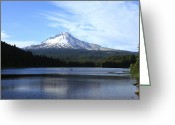 Trillium Lake Greeting Cards - Mt. Hood and Trillium lake Oregon.  Greeting Card by Gino Rigucci