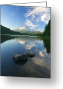 Trillium Lake Greeting Cards - Mt. Hood Cirrus Explosion Greeting Card by Mike  Dawson