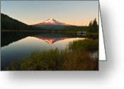 Trillium Lake Greeting Cards - Mt Hood from Lake Trillium Greeting Card by Alvin Kroon