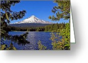 Trillium Lake Greeting Cards - Mt. Hood In Oregon Greeting Card by Athena Mckinzie