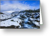 Waterfall Greeting Cards - Mt. Hood Morning Greeting Card by Mike  Dawson