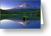 Trillium Lake Greeting Cards - Mt. Hood reflection at sunset Greeting Card by William Lee