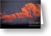 Snow Capped Photo Greeting Cards - Mt. McKinley Sunset Greeting Card by Sandra Bronstein