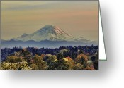 Snow-cap Greeting Cards - Mt Rainer Fall Color Rising Greeting Card by James Heckt
