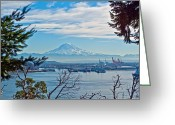 Commencement Bay Greeting Cards - Mt. Rainier over Tide Flats Greeting Card by Roger Reeves  and Terrie Heslop