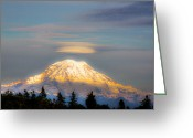 Glacier Greeting Cards - Mt Rainier Sunset with Lenticular Clouds Greeting Card by David Patterson