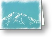 Snow Capped Digital Art Greeting Cards - Mt Shasta Snow Melts to Blue Sketch Greeting Card by Cindy Wright