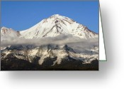 Telephoto Greeting Cards - Mt. Shasta Summit Greeting Card by Holly Ethan