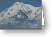 Snow Capped Digital Art Greeting Cards - Mt. Shasta Summit Greeting Card by Methune Hively