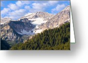 Lake Photographs Greeting Cards - Mt. Timpanogos in the Wasatch Mountains of Utah Greeting Card by Utah Images