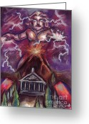 Fire Pastels Greeting Cards - Mt. Vesuvius - Jupiters Fury Greeting Card by Samantha Geernaert