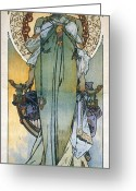 Carter Greeting Cards - Mucha: Theatrical Poster Greeting Card by Granger