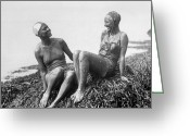 Mud Greeting Cards - Mud Bathers Greeting Card by Hulton Collection