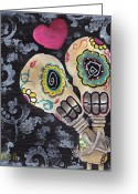 Tattoo Greeting Cards - Muertos de Amor Greeting Card by  Abril Andrade Griffith