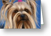 Pet Portrait Artists Greeting Cards - Muffin - Silky Terrier Dog Greeting Card by Michelle Wrighton