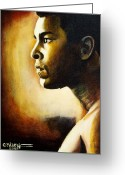 Sports Art Painting Greeting Cards - Muhammad Ali Greeting Card by Cheryl Riley