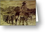 Cowboy Pencil Drawing Greeting Cards - Mule Train Greeting Card by Yvonne Breen