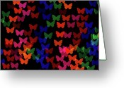Lights Greeting Cards - Multi Colored Butterfly Shaped Lights Greeting Card by Lotus Carroll