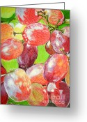 Health Drawings Greeting Cards - Multi Coloured Grapes Greeting Card by Yvonne Johnstone