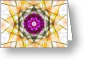 Flower Abstract Greeting Cards - Multi Flower Abstract Greeting Card by Mike McGlothlen