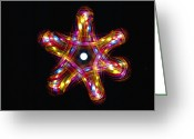 Star Points Greeting Cards - Multicoloured Lights Greeting Card by Lawrence Lawry